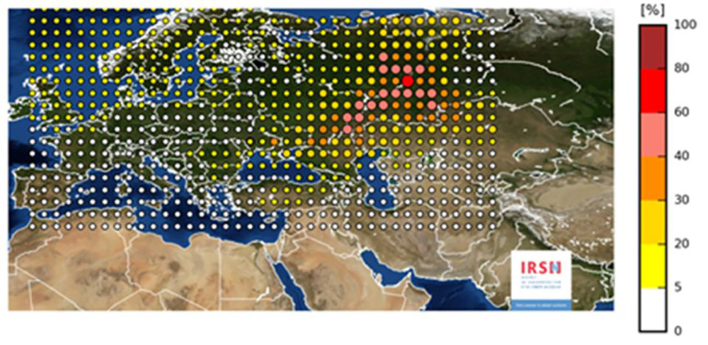 Карта IRSN, показывающая содержание рутения-106в воздухе вЕвропе впериод с27сентября по13октября