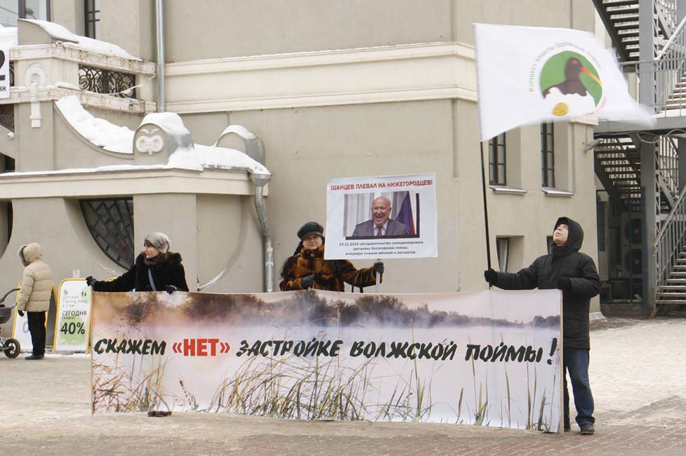 Пикет против застройки волжской поймы вСормово. Фото: Комитет защиты Волжской поймы/ Facebook