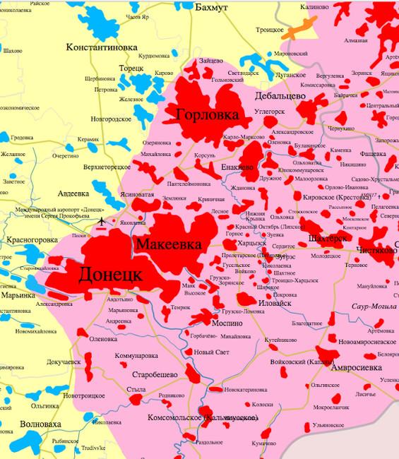 Разграничение сторон взоне донбасского конфликта: желтое иголубое— территории, занятые ВСУ, розовое икрасное— подконтрольные сепаратистам самопровозглашенных ДНР иЛНР