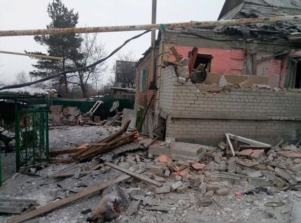 Последствия боевых обстрелов Авдеевки, Донецкая область, январь 2017. Фото: изоткрытых источников
