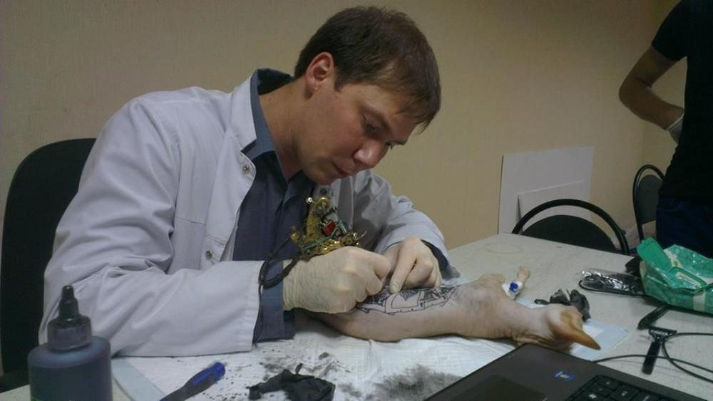 Алексей Шиян делает татуировку кошке. Фото: ветклиника-здоровье.рф
