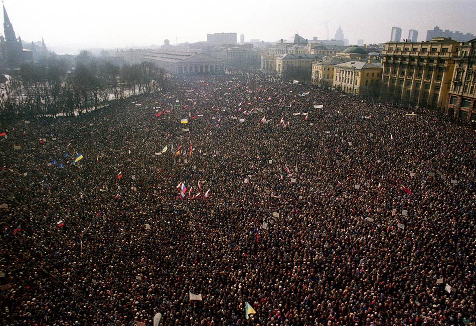 Митинг наМанежной площади вМоскве, 1991год. Фото: Дмитрий Соколов /Фотохроника ТАСС