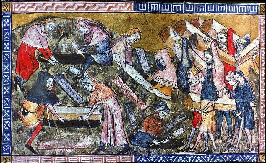 Похороны жертв чумы вТурне. Миниатюра изрукописи «Хроники Гилля Майзета», 1349 год