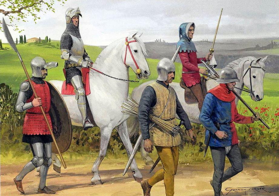 Рыцарь соруженосцем ипехота, 14век
