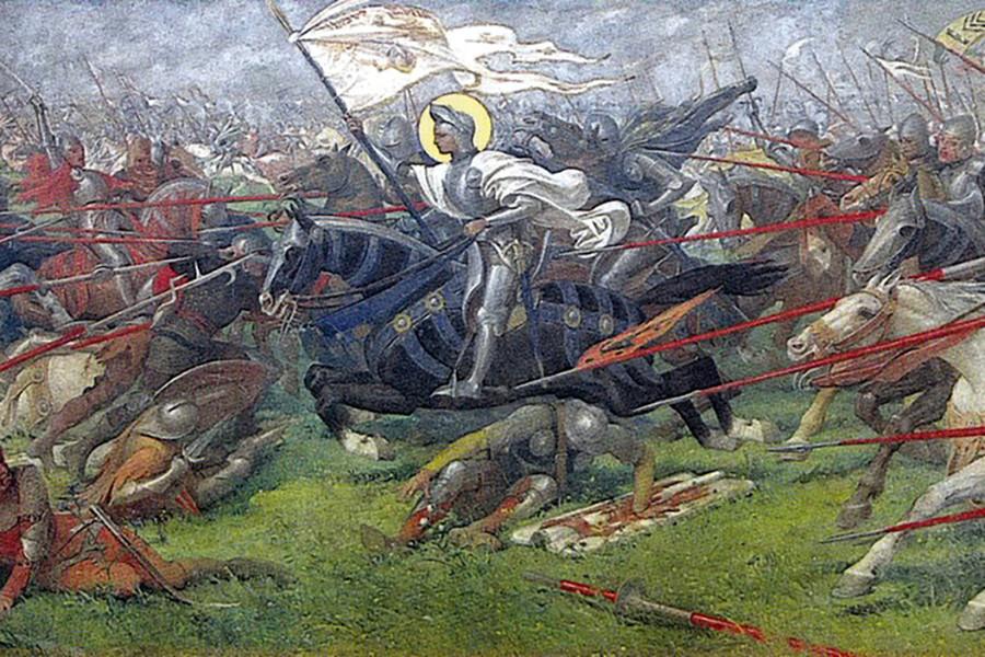 Жанна Д'Аркв битве при Патэ (фреска избазилики Bois-Chenu вДомреми)
