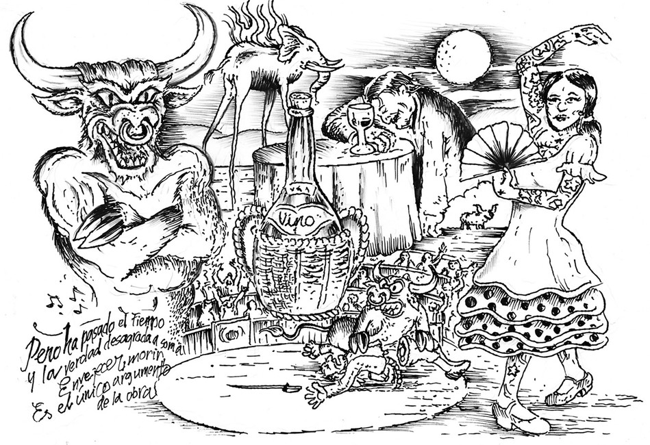 Эскиз кмультфильму «Последний матадор». Надпись наэскизе: «Современем проявляется досадная правда. Стареть иумирать— вот единственное оправдание работы»