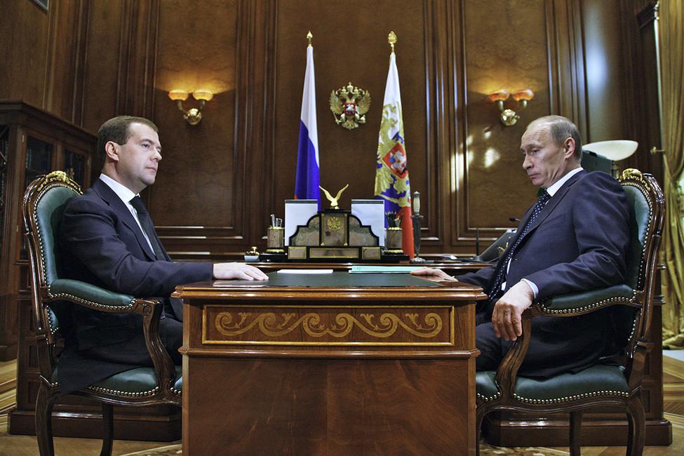 Президент России Дмитрий Медведев ипремьер-министр Владимир Путин, 2010год. Фото: Sputnik/ Reuters