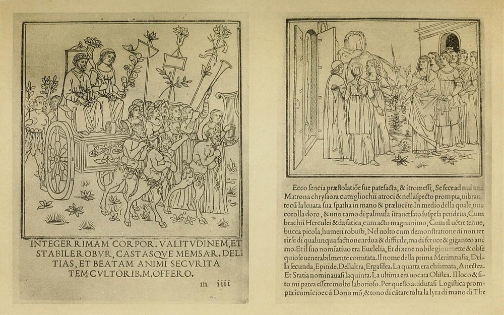 Разворот «Гипнэротомахии Полифила»— первой книги, изданной Альдом Мануцием в1499году. Налевой странице изображение триумфа Вертумна иПомоны, направой— Полифил встречается сЭвклелией (Вечным Блаженством) иполучает отнеё корону имеч. Источник: Wikimedia