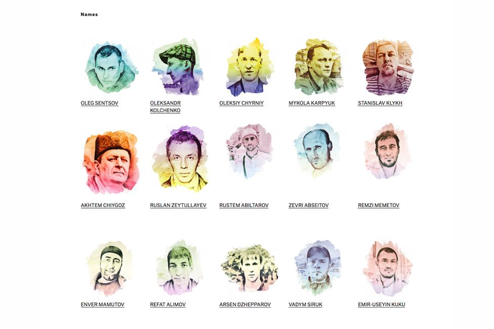Украинские политзаключенные, удерживаемые вРоссии. Скриншот главной страницы сайт noeurovisionfor.org