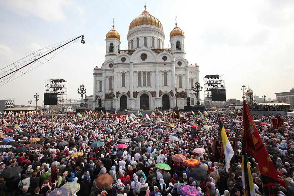 Стояние «взащиту веры, поруганных святынь, Церкви иеедоброго имени» в2012году. Фото: Сергей Авдуевский/ ИДР/ ТАСС