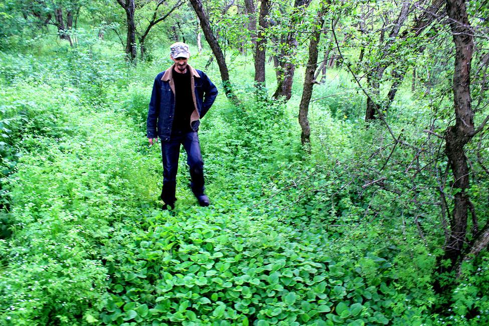 Сергей показывает могилы. Фото: Лариса Бахмацкая