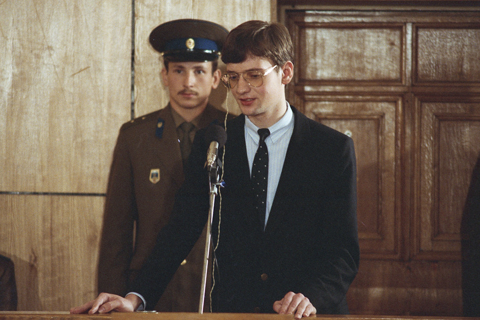 Матиас Руст выступает споследним словом всуде. Москва, 4сентября 1987год. Фото: Малышев Николай/ Фотохроника ТАСС