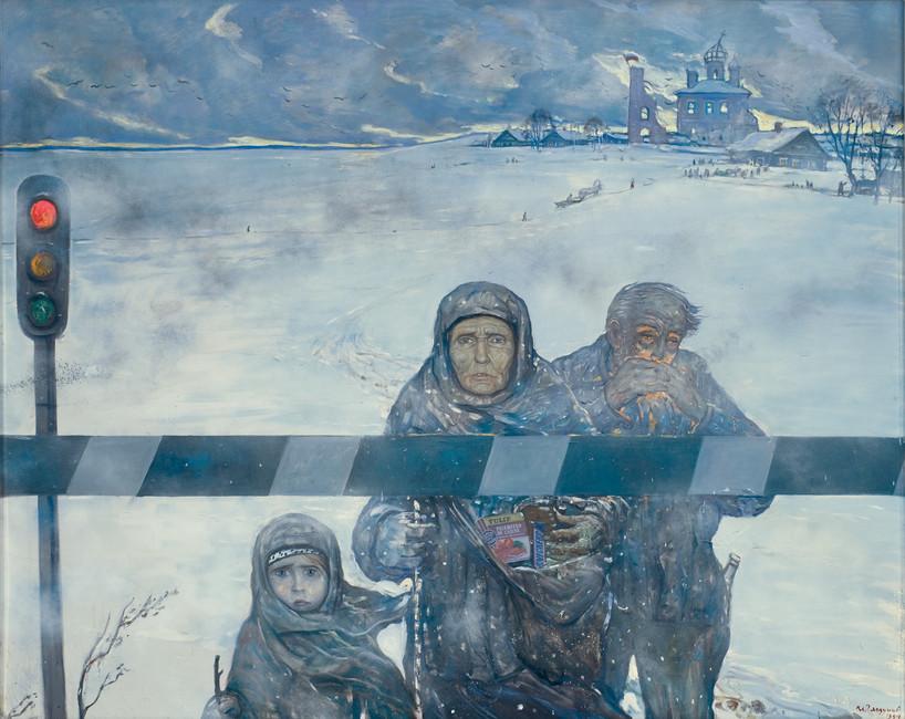 Загуманитарной помощью, 1994год. Художник: Илья Глазунов