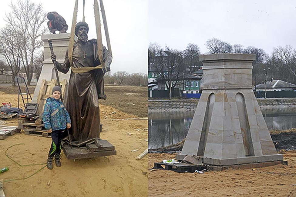 Демонтаж памятника Ивану Грозному вАлександрове. Источник: alexnews.info