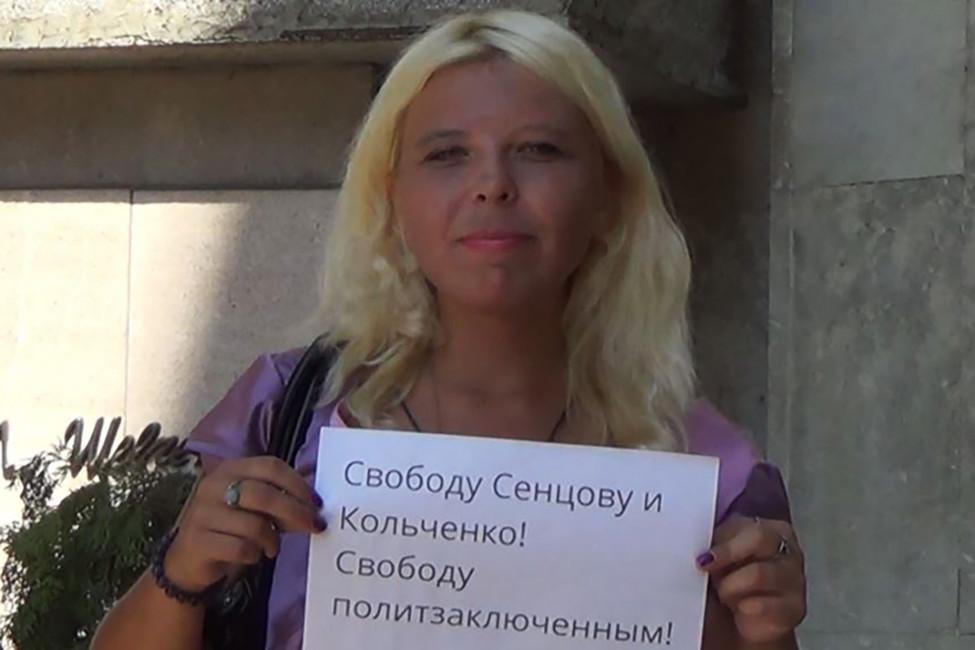 Дарья Полюдова спикетом вподдержку Сенцова иКольченко. Фото: личная страница Вконтакте
