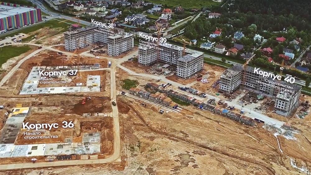 Строительство ЖК«Ильинские луга». Кадр извидео
