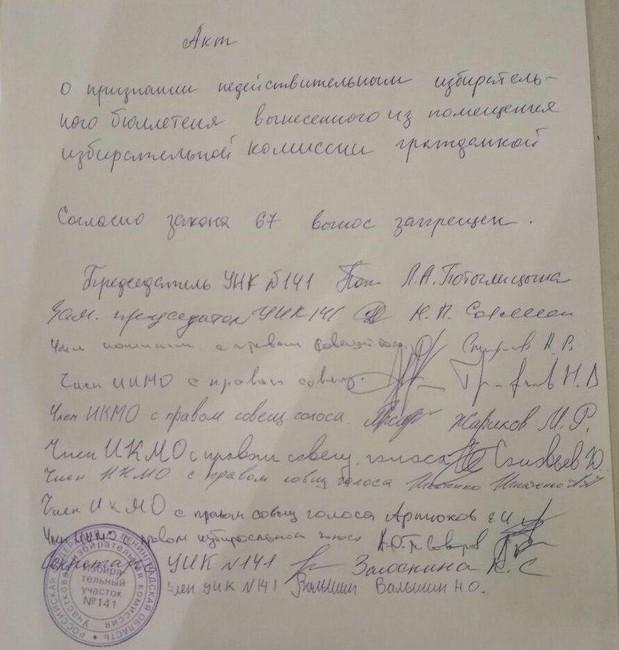 Акт признания недействительным бюллетеня, вынесенного сучастка. Фото: Юлия Шалгалиева