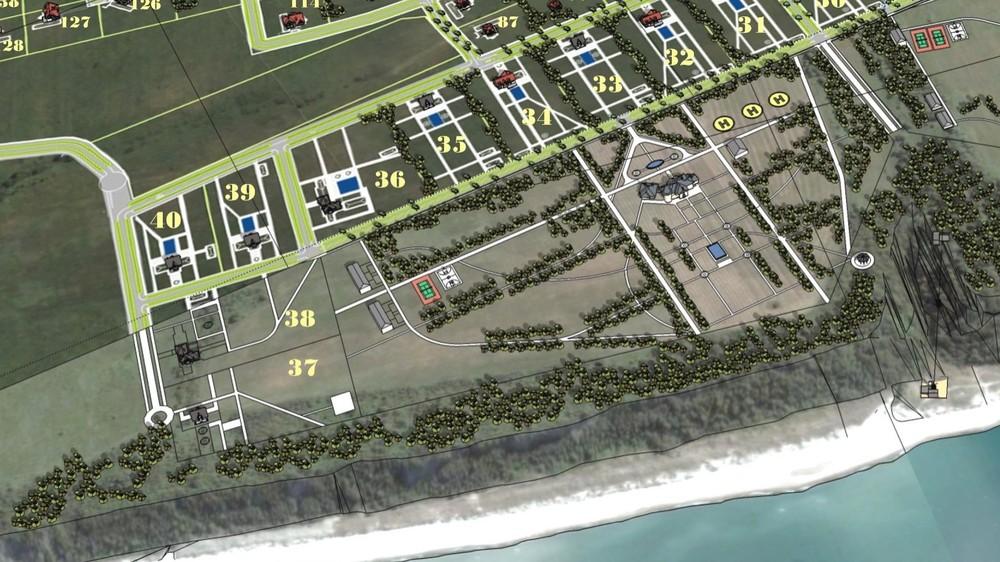 План усадьбы «Дара» насхеме-проекте будущего поселка Синявино ссайта застройщика (синявино.рф). Насхеме можно увидеть саму усадьбу, три вертолетные иплощадки, лифт напляж