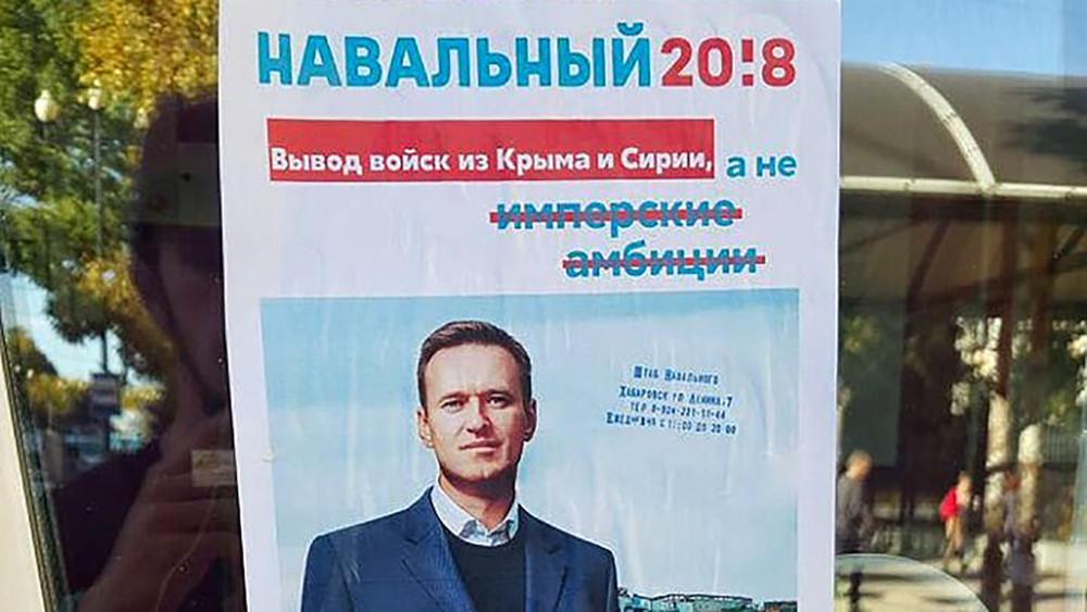 ВХабаровске перед митингом Навального расклеили поддельные баннеры про вывод войск изКрыма игей-парад вместо парада 9мая