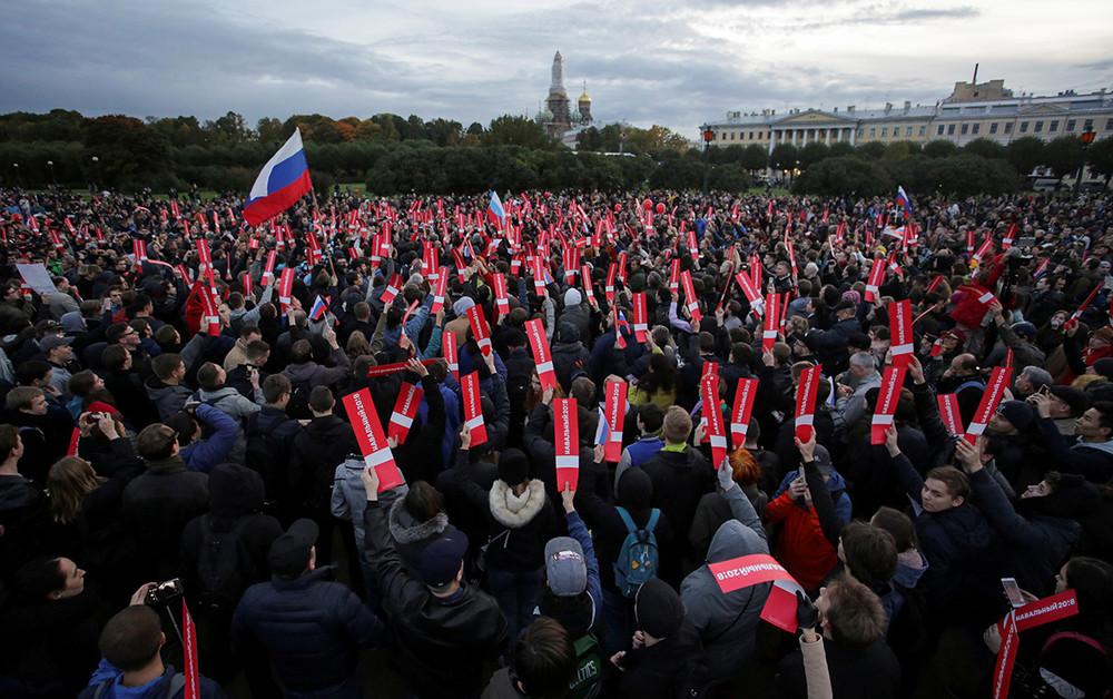 Акция сторонников Алексея Навального вСанкт-Петрбурге, 7октября 2017года. Фото: Reuters