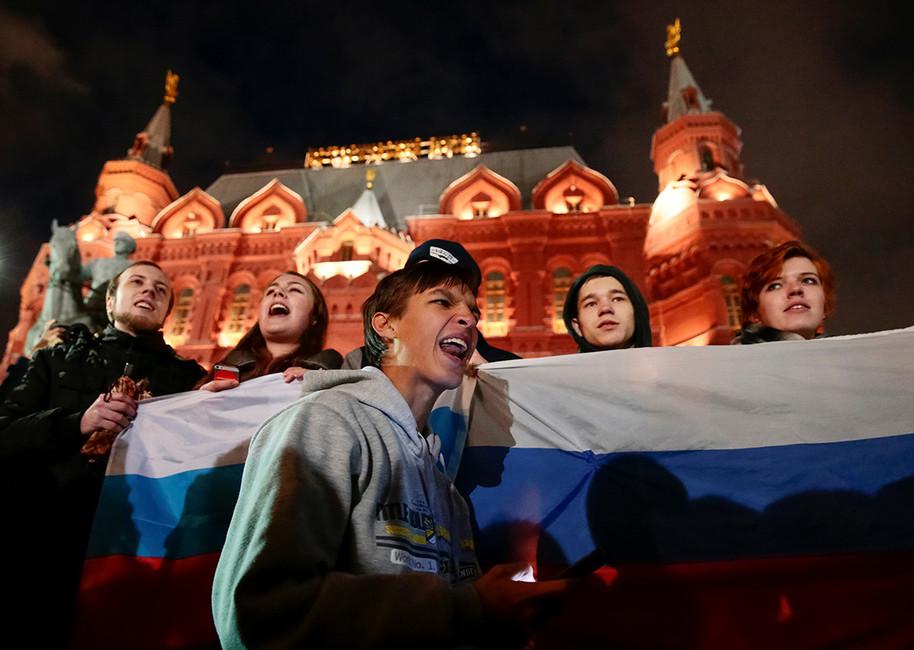 Акция сторонников Алексея Навального наМанежной площади, 7октября 2017года. Фото: Андрей Волков/ Reuters