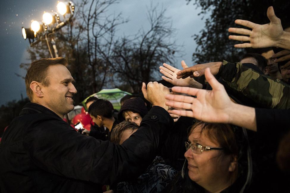 Алексей Навальный вовремя митинга. Фото: Евгений Фельдман/ Фотопроект «Это Навальный»