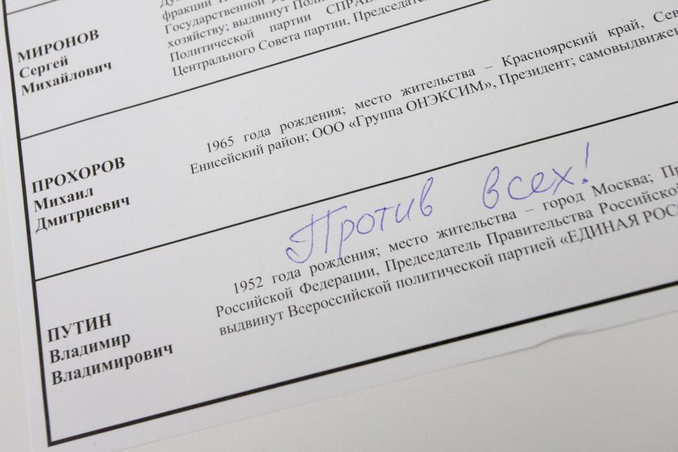 Испорченный бюллетень для голосования. Фото: Марина Лысцева/ ТАСС
