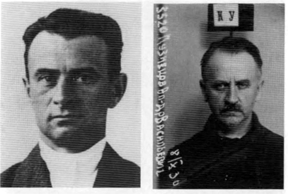 Александр Кузнецов начальник Кунцевского райотдела НКВД. Слева фото изличной карточки члена ВКПБ, справа фото втюрьме.