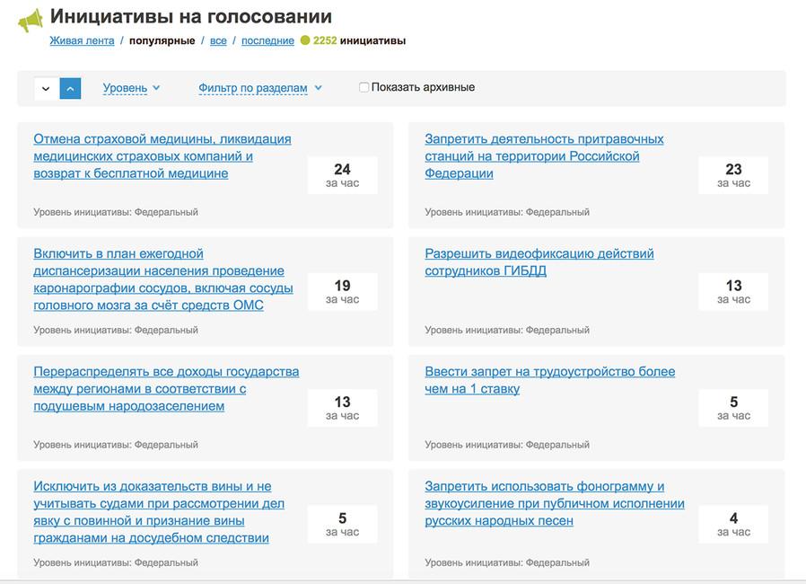 Скриншот главной страницы сайта «Российской общественной инициативы»